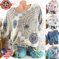 Womens Floral Tops Long Sleeve Round Neck Baggy Ladies Casual Blouse Pullover US