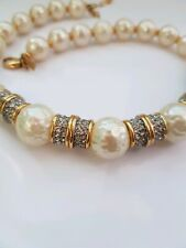 Vintage Leritz Choker Large Faux Pearl Rhinestones Necklace