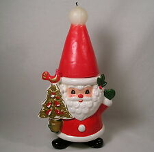Vintage Napco Christmas Figurine, Santa Candle Holder w/Santa Hat Candle, RARE