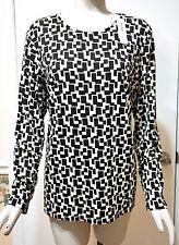 NWT Chico's Long Sleeve Textured Blocks Karina Tee Top, Black/Neutral 1 (M 8/10)