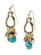 Banana Republic Gold Charm Drop Earrings NWT $45 TURQ