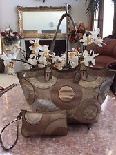 Coach Carly F16180 pieced Patchwork Metallic Signature Leather Tote & Wristlet