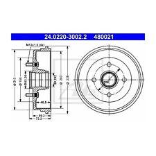 Ate 480021 tambor propiamente dichos 24.0220-3002.2 Ford