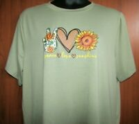 Women's 4XL Poly Green Short Sleeve Graphic Tee Top NWOT Peace Love Sunshine
