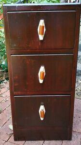 Vintage Art Deco 3 Bakelite Hndles Drawers Walnut Night Stand  Bedside Cabinet