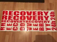 RECOVERY Vinyl Graphics Kit 8 Piece Truck Lorry Stickers Decals Sign FREE POST