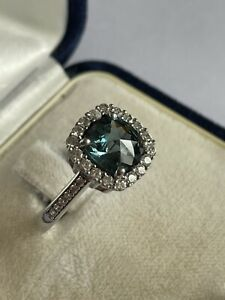 925 Silver & Diamonique Blue Topaz Solitaire With Accents Dress Ring Size R