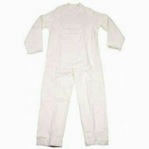 OVERALL WHITE COTTON BRITISH  COVERALL ARMY MECHANIC THICK HEAVY DUTY