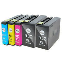 5PKs 932 XL 933 XL Ink Cartridges for HP OfficeJet 6100 6600 6700 7110 7610 7612