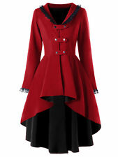 Gothic Vintage Womens Steampunk Winter Warm Swallow Tail Trench Coat Long Jacket