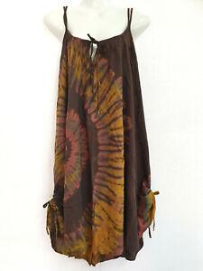 New Ladies Tie Dye Double Straps Dress Sundress Bohemian Peasant Plus Size TDDB
