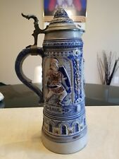 Antique 19th 1895 Century Gerz Biblical Warriors Blue Salt Glaze 2.5L Beer Stein