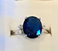 Pretty 925 Silver And Sapphire Blue Gemstone Fashion Ring 8 Comes With Gift Box