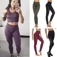 Women High Waist Yoga Leggings Pants Seamless Sports Fitness Gym Workout Trouser