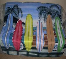 New Surfboard Beach Palm Tree Scene Fleece Blanket Surfer Gift Surf Board Nip