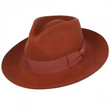 Felt Fedora Brick Stiff and Snap Brim 100% Wool  Trilby Hat With Wide Band