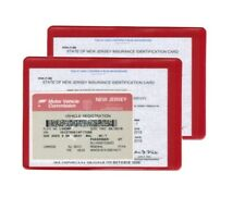 2 (two) Auto car Insurance Registration ID Card Holders Holder Red