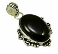 Natural Black Agate Gemstone Silver Plated Designer Pendant Jewelry KJP126