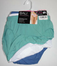 3 Bali Nylon HI Cut Brief Panty Set Soft Seamless 10/11 Blue Green White NWT