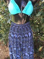 Blue Elephant Hippie Elastic waist pants pockets free size Rayon