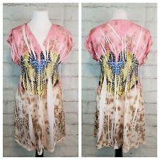 Majora L Cap Sleeve Empire Waist Top Long Fit Pink Beige Feathers Sublimation