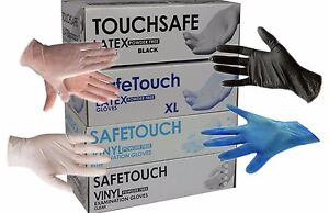 SAFETOUCH Disposable Latex, Nitrile or Vinyl Gloves  Powder Free - 100 Boxed