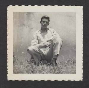 WW2 ERA TOUGH HANDSOME YOUNG SOLDIER POMPADOUR OLD/VINTAGE PHOTO SNAPSHOT- X293