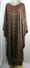Plus size caftan, multi color, mixed pattern, V-neck, size 3X-4X, handmade