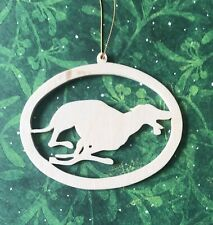 "Wood Cutout Greyhound Dog Ornament ""Sprint"" Whippet Galgo Ig"