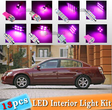 13-pc Pink LED Car Interior Light Bulbs Package Kit Fit 2002-2006 Nissan Altima
