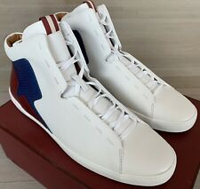 $600 Bally Etius White Leather High Tops Sneakers size US 12