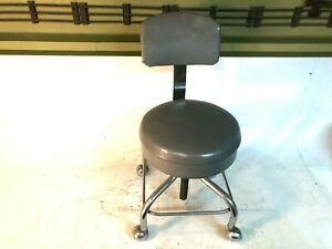 Vintage Mid Century Modern Pedigo Adjust Chair Chrome Stool Backrest and Casters