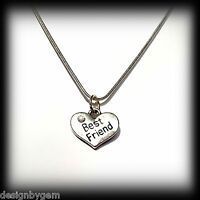 Best Friend diamante silver plated necklace birthday christmas gift present Xmas