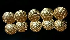 "10 Large Domed Buttons Gold 1"" Weave woven pattern. FREE SHIPPING IN THE USA!"