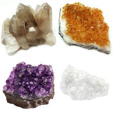 4 Piece Lot: Smoky Quartz Citrine Amethyst Clear Quartz Crystal Clusters Geode