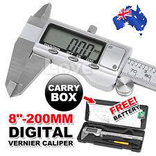 """8"""" 200mm Digital LCD Silver Vernier Caliper Micrometer Gauge Stainless Steel"""
