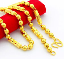 "24K Gold Plated Sandy Smooth Beads Bar Chain Unisex Necklace 6MM 21"" JP053"
