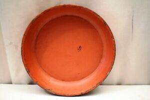 """Antique Burmese Lacquerware Old Lacquer Plate Tray Round Red Wooden Rare Old """"12"""