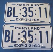 1964 Maryland License Plates Matched Pair professionally restored show quality