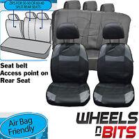 Honda City Insight UNIVERSAL BLACK & Grey PVC Leather Look Car Seat Covers Set