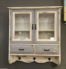 Vintage Style Wooden Cabinet Glass Wall Storage Unit Hooks Shelves Drawers