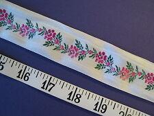 """A2277 TRIM Jacquard Woven Pink White Floral Ribbon 6 Yds 1 3/8"""""""
