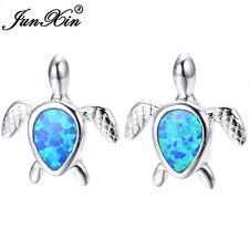 Cute Turtle Water Drop White,Blue Fire Opal Stud Earrings 925 Silver Wedding