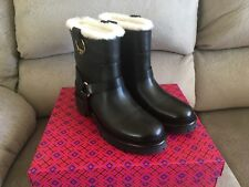 Tory Burch Henry Shearling Ankle Bootie Black Size US 8