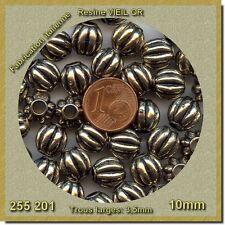 255201 *** 15 perles résine melon côtelé VIEIL OR 10mm