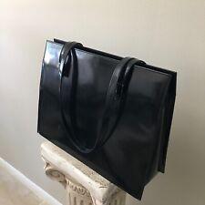 "Gucci Tote Business Work Bag Laptop Reversible Black Large 14"" Briefcase Zipper"