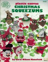 Christmas Squeezums in Plastic Canvas ASN 3050 Reindeer Santa Mrs Claus & More