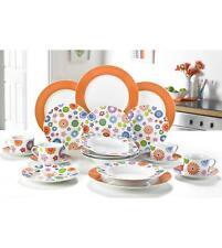20pc Orange White Floral Dinner Set Service Tea Porcelain Crockery