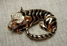 Signed Panetta Enameled & Rhinestone Pave Golden Tiger Brooch