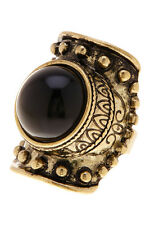Free Press Black And Gold Stone Ring Cab Shield Ring- Adjustable  0/5